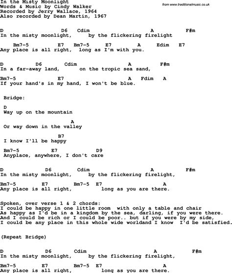 Song lyrics with guitar chords for In The Misty Moonlight