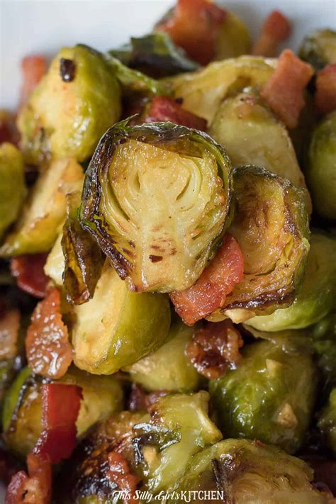 Roast Brussel Sprouts with Bacon - Sweet & Tangy Glaze