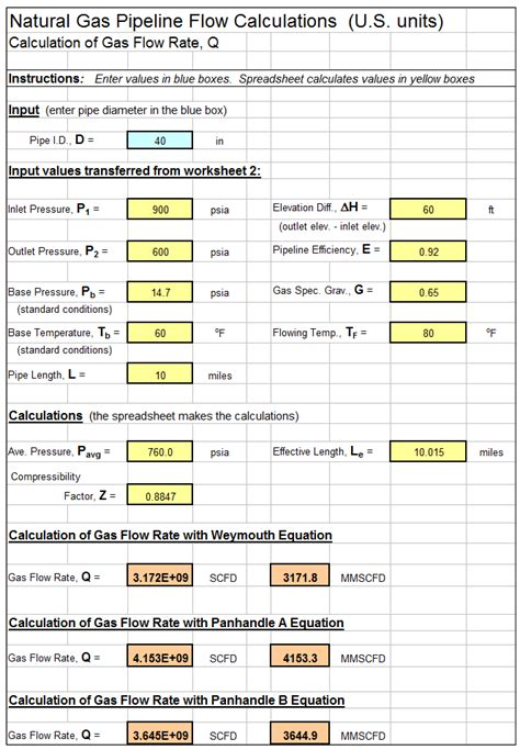 excel spreadsheet for natural gas pipeline flow calculations