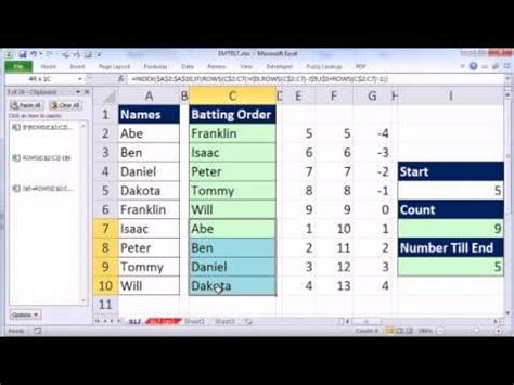 Excel Magic Trick 917: Rotating List With Formula (For
