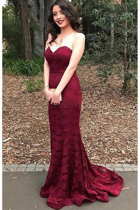 Long Mermaid Lace Burgundy Prom Dresses Party Evening