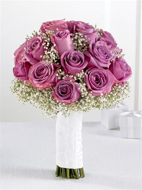 Lavender Rose & Gypsophila Bridal Bouquet from Flowers