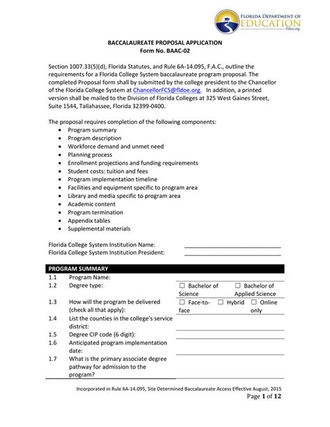 Baccalaureate State Application Instructions