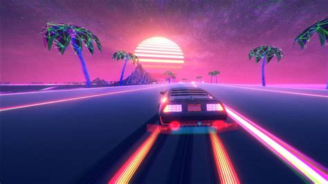 Retro Wave Pink Neon Outrun Car HD Vaporwave Wallpapers