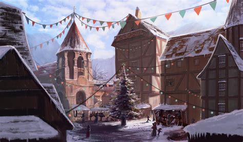 Study on a medieval town, during winter -Done!- by