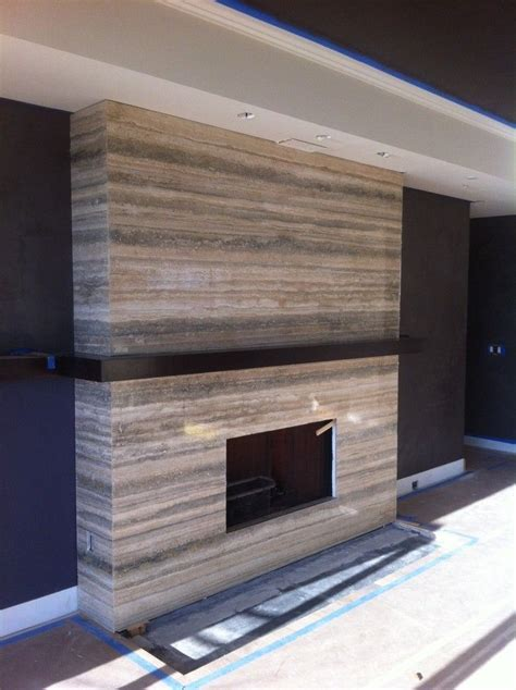 Travertine Fireplace for Living Room Modern with mantle in