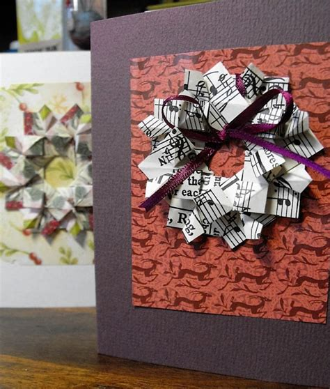 How to Paper Fold Greeting Card Wreaths   Holidappy