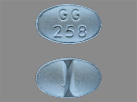 GG 258 Pill Images (Blue / Elliptical / Oval)
