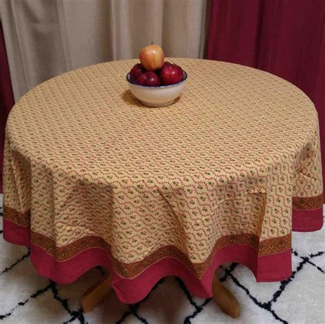 Cotton Floral Vine Square & Round Tablecloth Gold Red